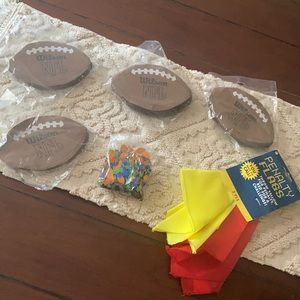 Football tailgate party set napkins confetti flags